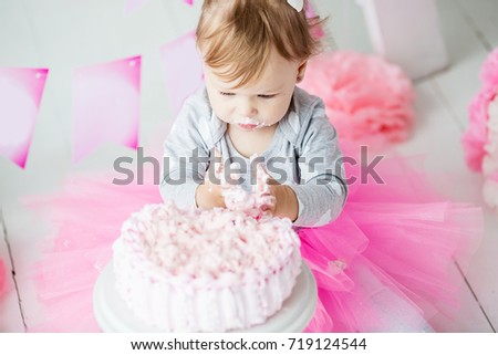 Baby Girl 1 Year Old Celebrating Stock Photo Royalty Free