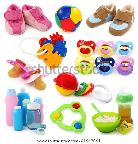 Baby goods collection  isolated on white background - stock photo