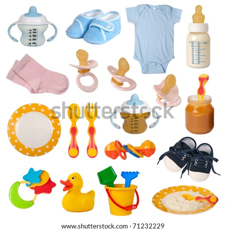 Baby goods isolated on white background - stock photo