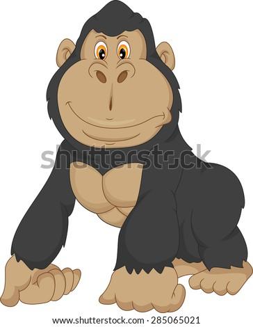 baby gorilla cartoon - stock photo