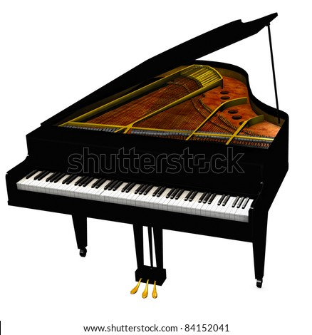 Baby Grand Piano, cover open eighty eight keys showing. Sounding board and steel strings Isolated on white background. Clip art, cutout illustration - stock photo
