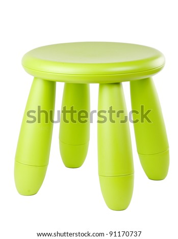 baby green plastic stool on a white background - stock photo