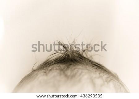 baby hair close. newborn    - stock photo