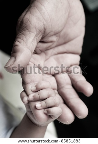 baby hand holding Rough finger