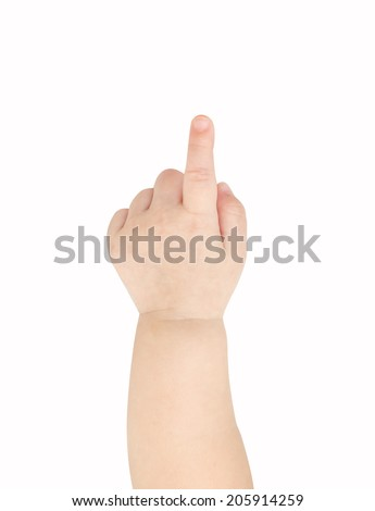 Baby hand pointing isolated on white background