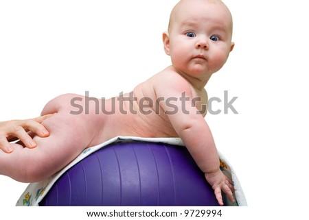 baby hands massage mother massaging - stock photo