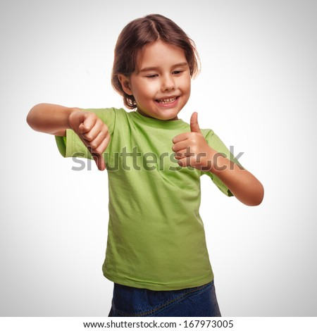 baby happy little girl shows sign yes no gesture isolated on white background emotions gray - stock photo