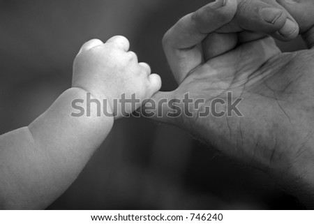 baby holding fathers hand - stock photo