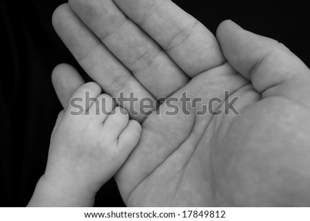 Baby holding her Father's hand - stock photo