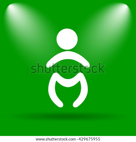 Baby icon. Internet button on green background.