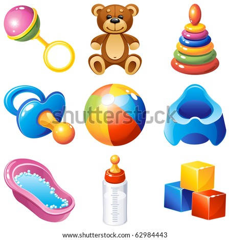 baby icons set - stock photo