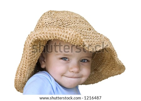 baby in a straw hat isolated