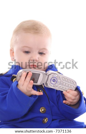 Baby in a suit making phone call - stock photo