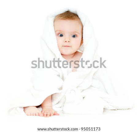 baby in a towel - stock photo