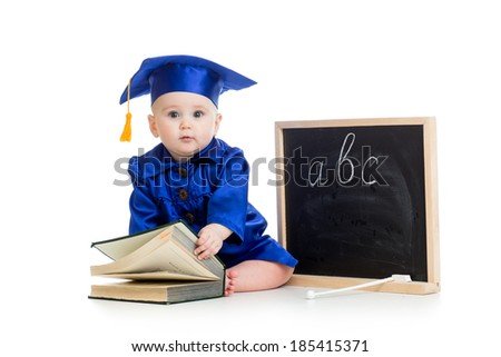 Baby in academician clothes  with book and chalkboard - stock photo