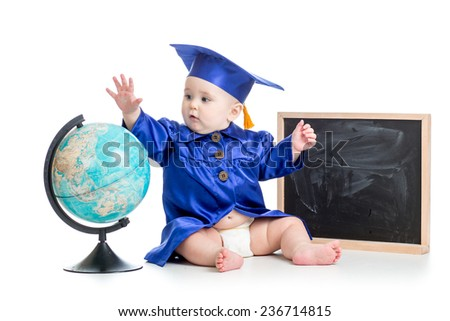 baby in academician clothes with globe at chalkboard isolated - stock photo