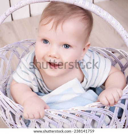 Baby in basket - stock photo