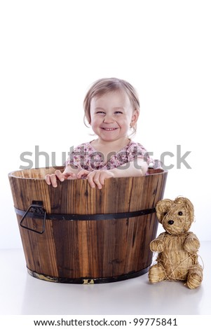 baby in basket on white background