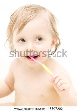 Baby in bath - stock photo