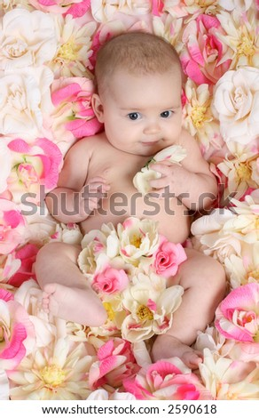 Baby in bed of flowers - stock photo