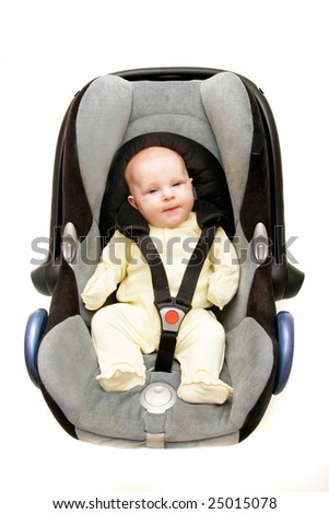 baby in car seat over white - stock photo
