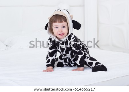 Baby in cow costume in white interior  sc 1 st  Shutterstock & Baby Cow Costume White Interior Stock Photo (Royalty Free) 614665217 ...
