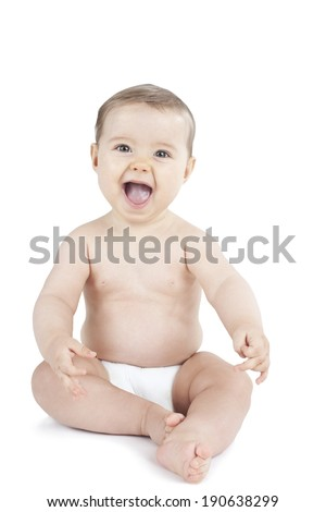Baby in diaper isolated on white - stock photo