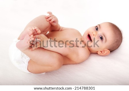 Baby in diapers - stock photo