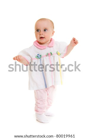 Baby in dress on a white background.