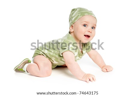 baby in khaki clothes