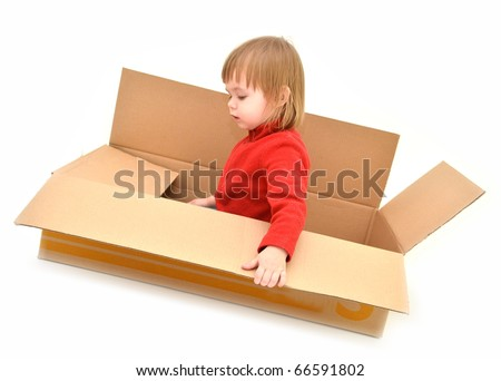 baby in paper box - stock photo
