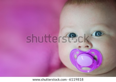 baby in pink - stock photo