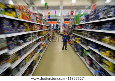 Baby in shop - stock photo