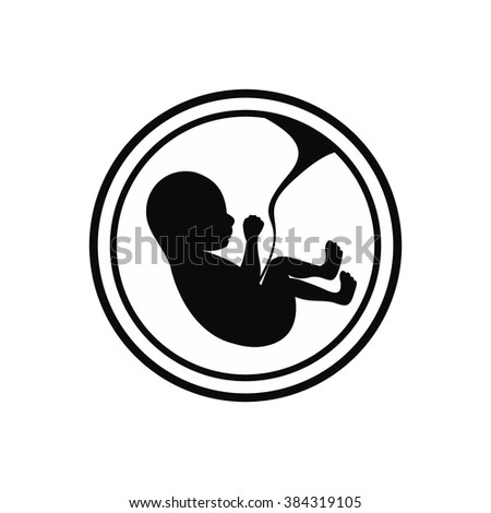Baby in womb icon - stock photo