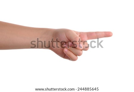Baby index finger pointing isolated over white with clipping path included - stock photo