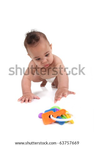 Baby infant little boy crawling towards the viewer