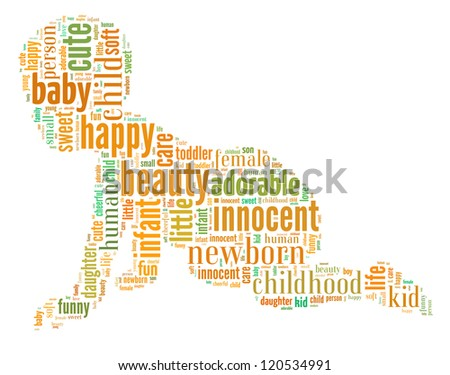 Baby info-colorful text graphic and arrangement concept on white background (word cloud) - stock photo