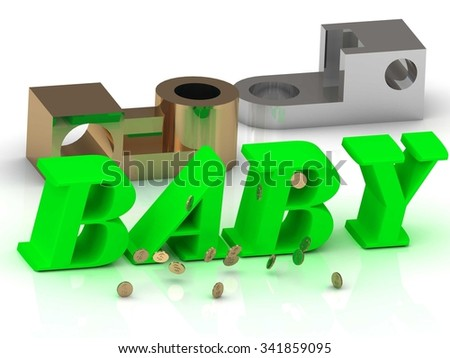 BABY - inscription of color letters and golden details on white background