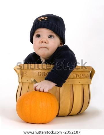 Baby inside a fruit basket with the words Home Grown on it, holding on to a pumpkin - stock photo