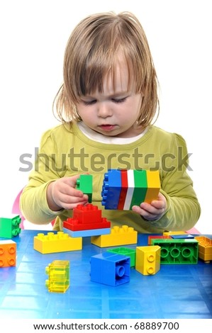 baby isolated playing - stock photo