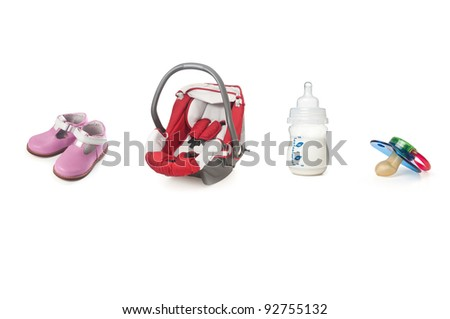 Baby items isolated on white - stock photo