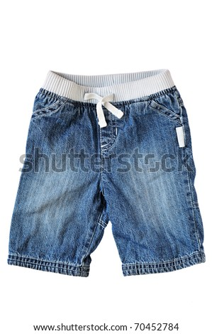 baby jeans on over the white background - stock photo