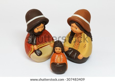 Baby Jesus, Joseph and Mary - nativity scene on a white background - stock photo