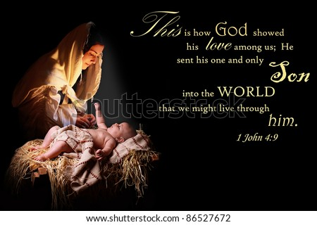 Baby Jesus reaching out of the manger for his mother, the virgin Mary and bathing her in his light.  Image also contains a verse from 1John appropriate for Christmas - stock photo