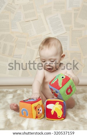 Baby Learning Alphabet - stock photo