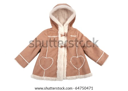 Baby leather coat with fur isolated on white - stock photo