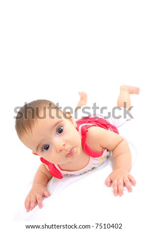 Baby lie down on white background .