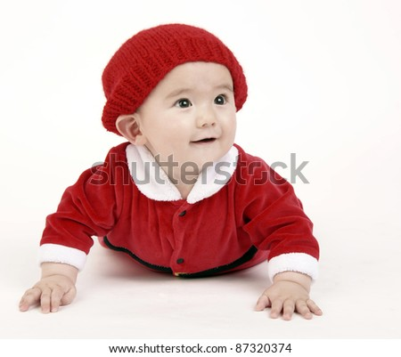 Baby Male Happy Infant Boy Crawling Red Outfit and Cap