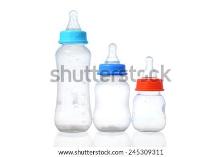 baby milk bottle isolated on white background - stock photo