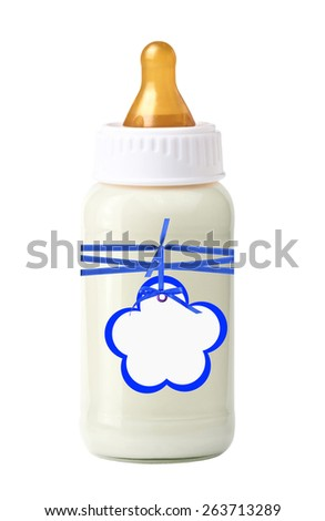baby milk bottle with blue bow and tag isolated on white background - stock photo